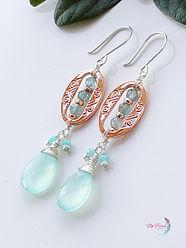 Aqua chalcedony earrings sterling, apatite dangles silver, gemstone earrings sterling silver