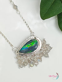 Opal Necklace, Australian Boulder Opal, Sterling Silver Necklace, Gemstone Necklace