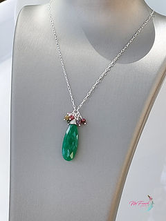 Green ony and tourmaline necklace, sterling necklace, gemstone necklace