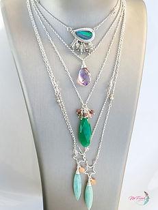 Gemstone necklace stack, amethyst necklace sterling, Boulder opal sterling necklace, layering gemstone necklaces silver