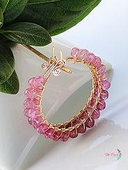 Rubellite Earrings Hoop, Tourmaline hoops gold, large gemstone hoop earrings, gold filled hoops