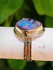 Australian boulder opal ring gold, multiband solid rose gold ring