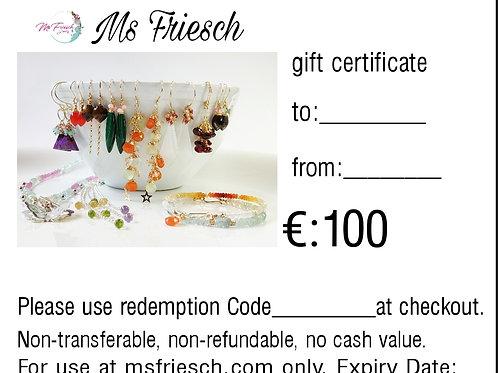GIFT CERTIFICATE 100 EUROS