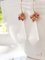 Selenite earrings, Gemstone earrings, Gold Earrings, Handmade jewelry, Cluster Earrings
