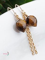 Eye tiger earrings dangle, gemstone dangles gold , gold filled earrings, brown gemstone earrings