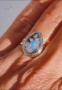 australian opal ring, 18k gold ring, fine jewelery, australian opal boulder
