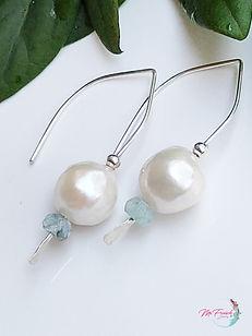 Pearls earrings, sterling earrings, white pearl and aquamarine earrings