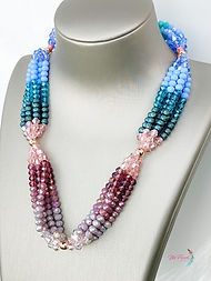 Crystal Beaded necklace, multistrand crystal necklace, colorful crystal necklace