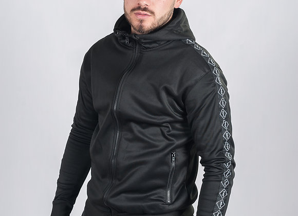 18 Black Tapered Poly Tracksuit Jacket