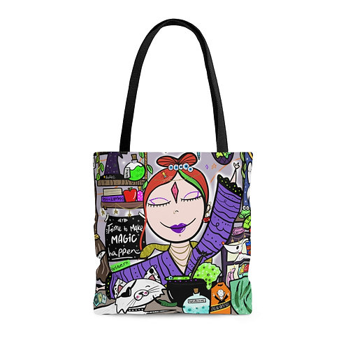 Happy witch tote bag