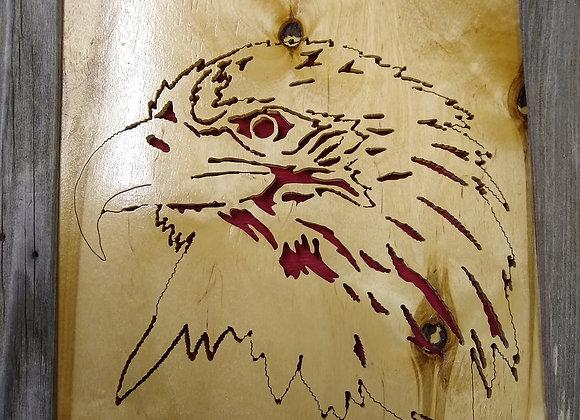 Eagle in barn wood frame