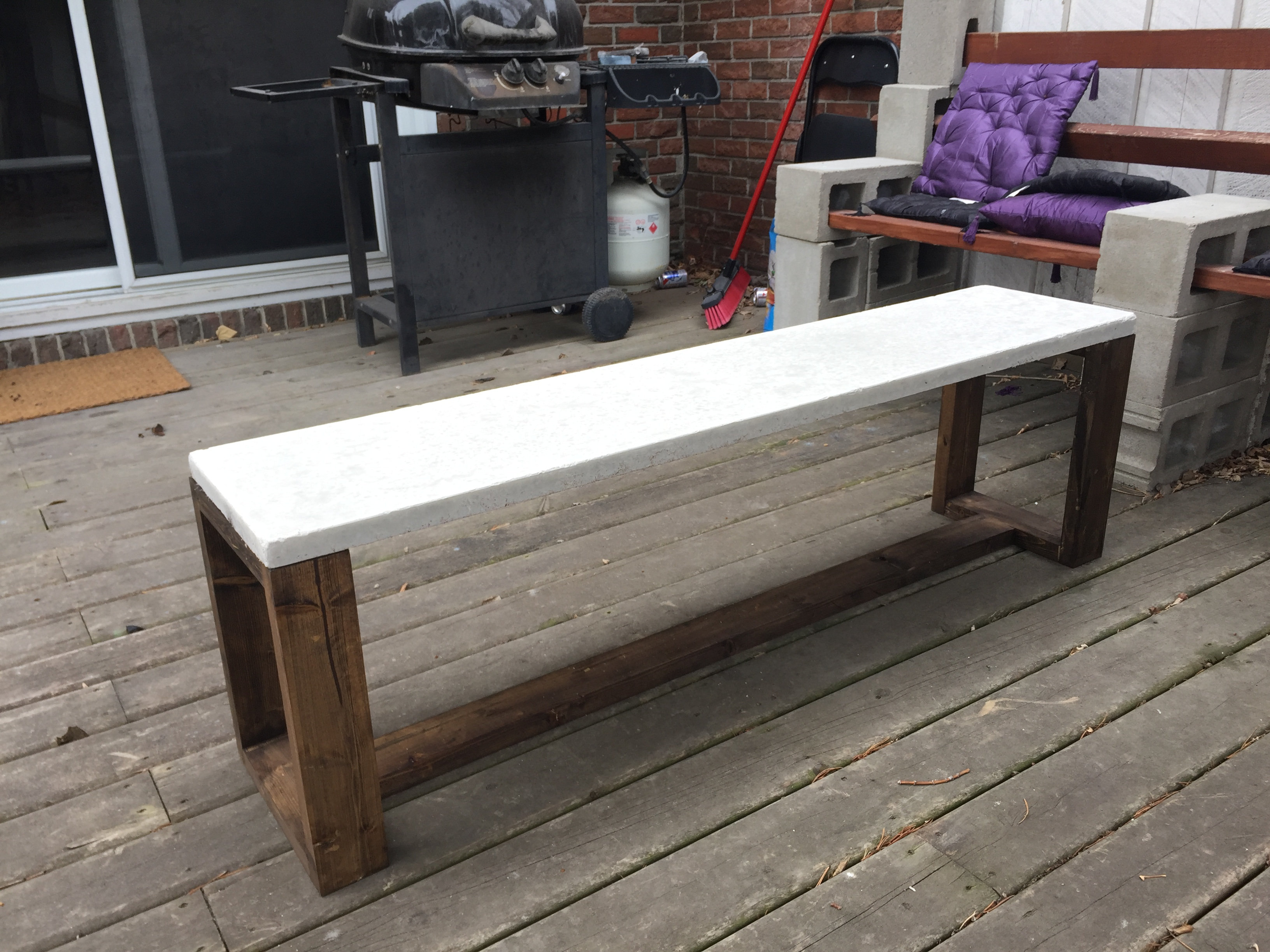 Rustic Concrete Wood Bench
