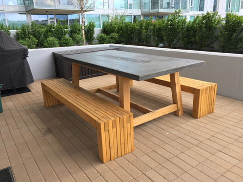Concrete And Wood Patio Table W Fire Insert