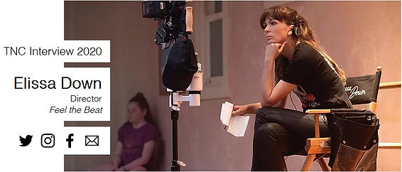 TNC Interview 2020 Elissa Down Director Feel the Beat - image of Director Elissa Down sitting on a director chair on film set