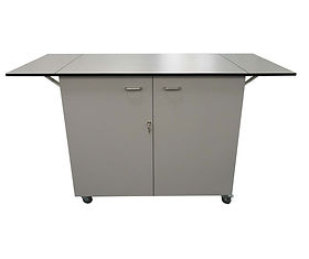 Bespoke Mobile Workbench with Lockable Cabinets and Fold Down Worktop Flaps