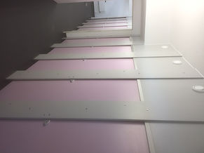 Full Height Toilet Cubicles in Heather and Grey. 13mm CGL Privacy and Anti Bully Cubicles