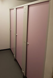Lavender and grey dry area toilet cubicle