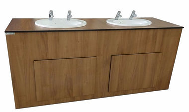 Vanity unit with recessed sinks, Timeflow Control (Non-Concussive) Taps and lift off panels sink in a woodgrain effect