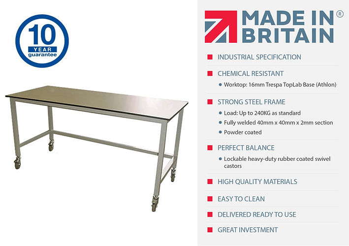 Fast delivery table on castors. Made in Britain