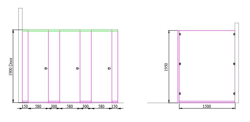 Standard Panel Dimensions for School Toilet Cubicle