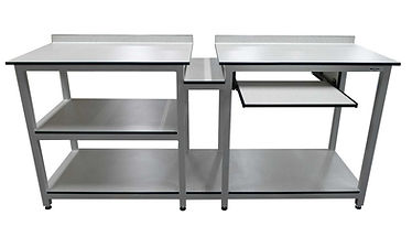 22907 - bespoke table with shelves pull