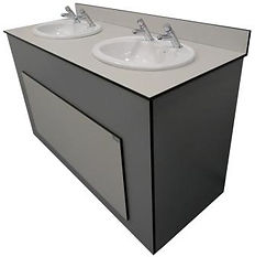 Vanity unit with semi recessed sinks, Timeflow Control (Non-Concussive) Taps and lift off panels sink with grey and white panels