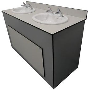 CGL Vanity unit with semi recessed sinks, Timeflow Control (Non-Concussive) Taps and lift off panels sink with grey and white panels