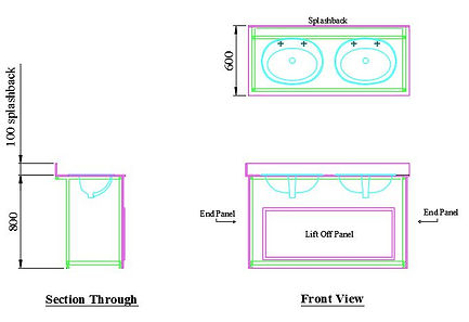 example layout of 18mm MF MDF recessed vanity until wit two sinks and two pairs of taps