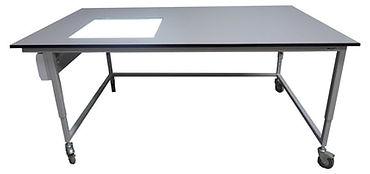 Bespoke Adjustable Height Workbench with light box