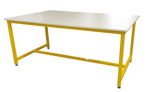 yellow frame on adjustable feet with 16mm Trespa worktop