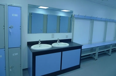 Toilet Cubicles in blue and grey