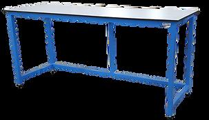 blue steel frame with bespoke worktop 25