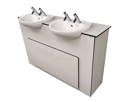 semi recessed sinks in CGL vanity unit in 12mm CGL Trespa white-reduced