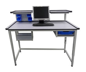 Bespoke Workbench Computer Table with Upper shelves, lower shelves and Tray Slot