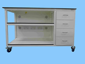 mobile bespoke workbench with shelves, 4 drawers and electrical pack