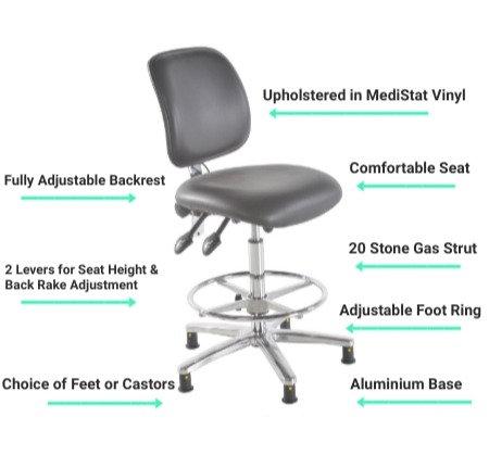 301 ESD Anti Static High Chair - Vinyl Seat