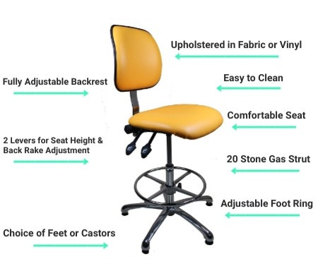 005 Upholstered Laboratory High Chairs Tangerine Orange