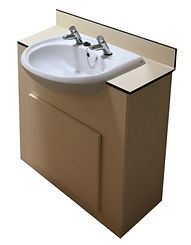 13mm CGL Vanity Unit with 13mm CGL worktop in Sand with semi recessed basin and pair of time flow taps