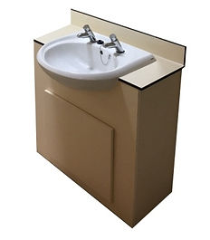 18mm MF MDF Vanity Unit with 13mm CGL worktop in Sand and basin with pair of time flow taps