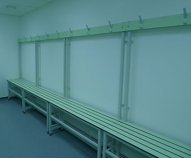Wet Area Cubicle Changing Bench with green slats