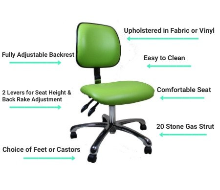406 Low Upholstered Clean Room Chair