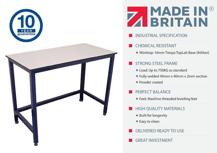 Lab table on adjustable feet