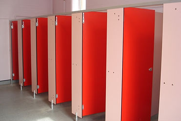 Toilet Cubicles in red and pink