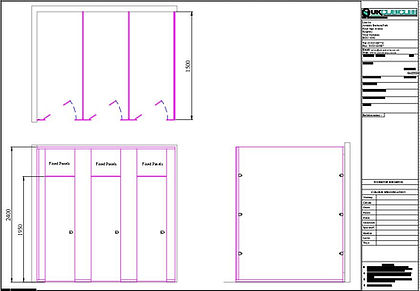 AutoCAD layout of 18mm MF MDF full height privacy toilet cubicles