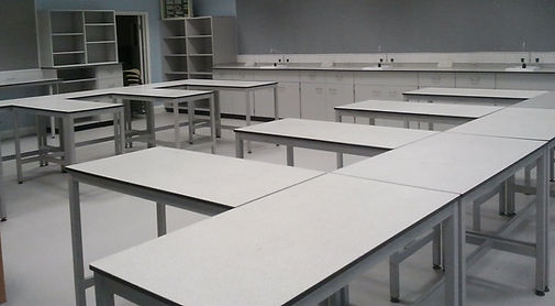 Large Number of School Science Desks in