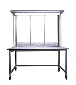 ESD Workbench with LED Lighting Bar, Vertical Steel Barsand Electric Pack