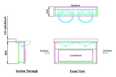example layout of 18mm MF MDF semi recessed vanity until wit two sinks and two pairs of taps
