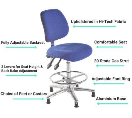 201 ESD Anti Static Fabric High Chair