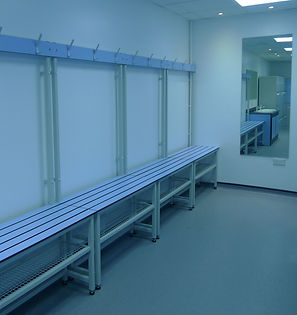 Wet Area Changing Bench with blue slats