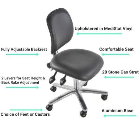 302 ESD Anti Static Low Chair | Vinyl Seat